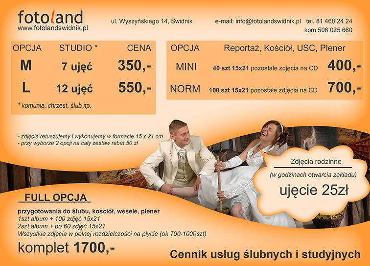Fotoland świdnik Fotografia ślubna I Reklamowa Odbitki Cyfrowe